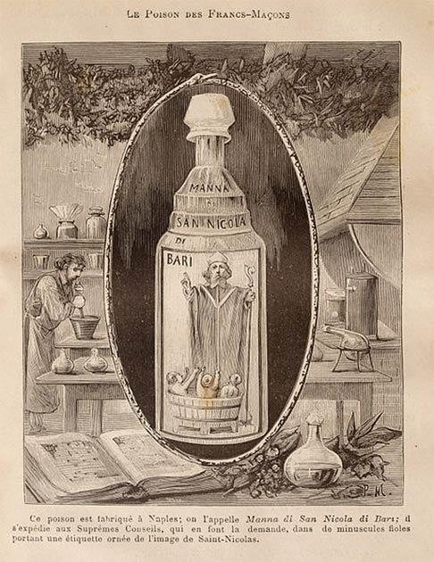 En la Italia del siglo XVII, el veneno, conocido como Aqua Tofana o Manna di San Nicola, fue guardado por esposas infelices junto con perfumes y lociones, casi como una forma de cultivar la fantasía de algún día estar libres de sus maridos. (Dominio público)
