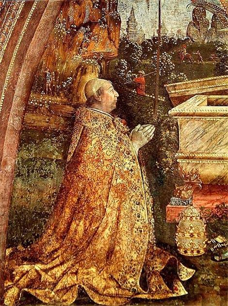 Papa Alejandro VI. Detalle de un fresco de la resurrección, pintado en 1492-1495 por Pinturicchio. (Dominio publico)