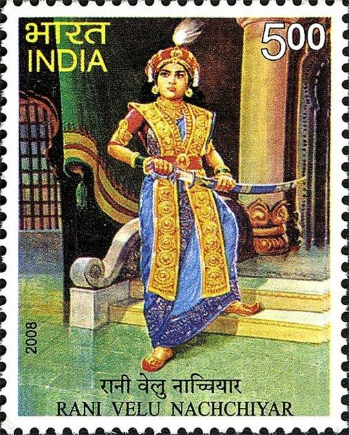 Sello que representa a la reina guerrera india Velu Nachchiyar. (GODL)