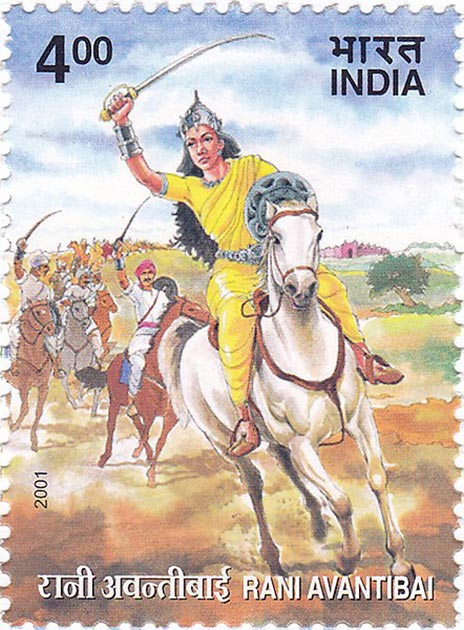 Sello que representa a Rani Avanti bai liderando su ejército. (GODL)
