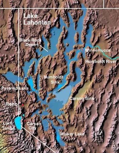 Extensión del lago prehistórico Lahontan (TCC BY-SA 3.0)