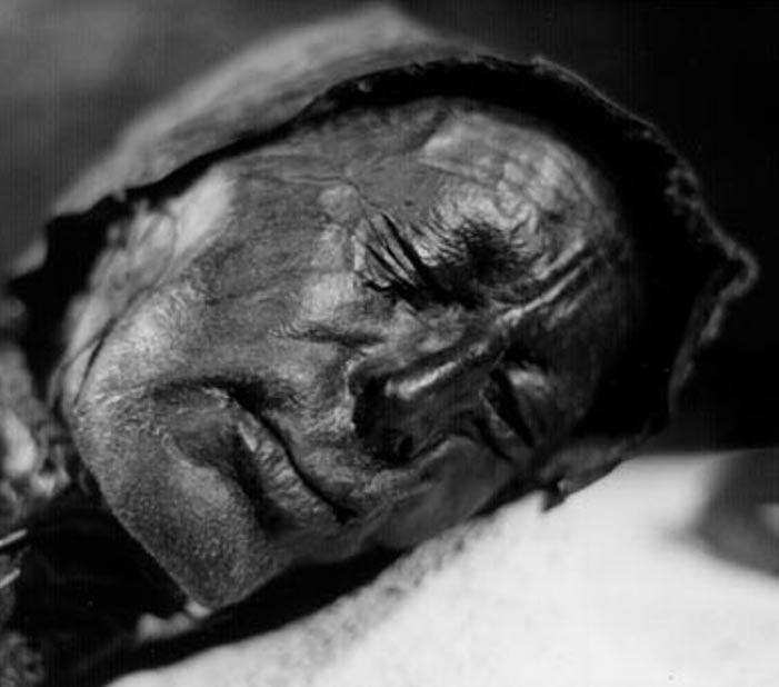 El bien conservado rostro del Hombre de Tollund. Imagen: Wikipedia