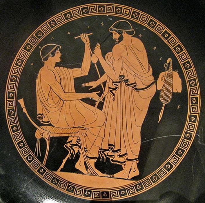 Un hombre ofrece una bolsa con dinero a un joven a cambio de sexo. Cílica ateniense de figuras rojas, siglo V a. C., Museo Metropolitano de Arte de Nueva York. (Public Domain)
