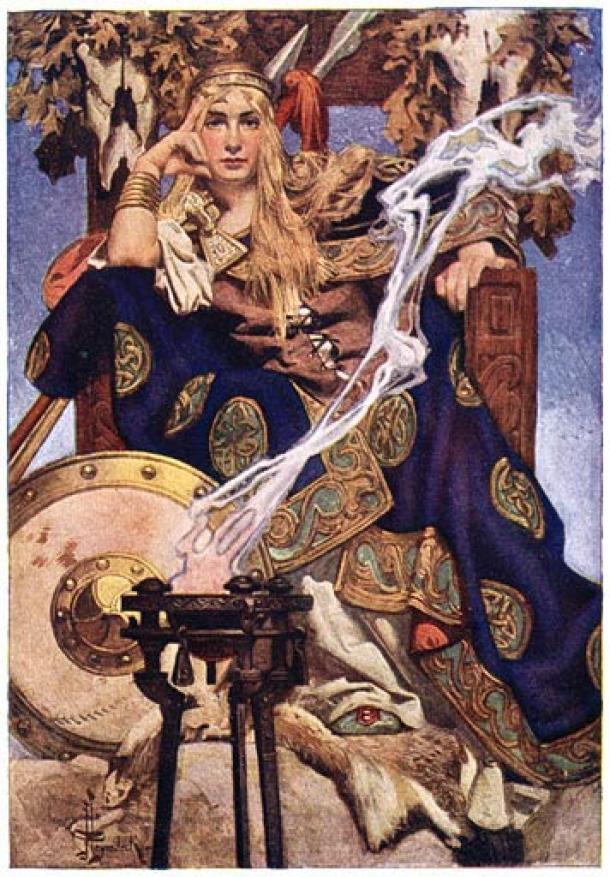 La reina Medb, tal como la describe Joseph Christian Leyendecker en su 'Mitos y leyendas de la raza celta'. Casarse con Medb fue parte del ritual de inauguración de los Grandes Reyes de Irlanda en la colina de Tara. (Dominio público)