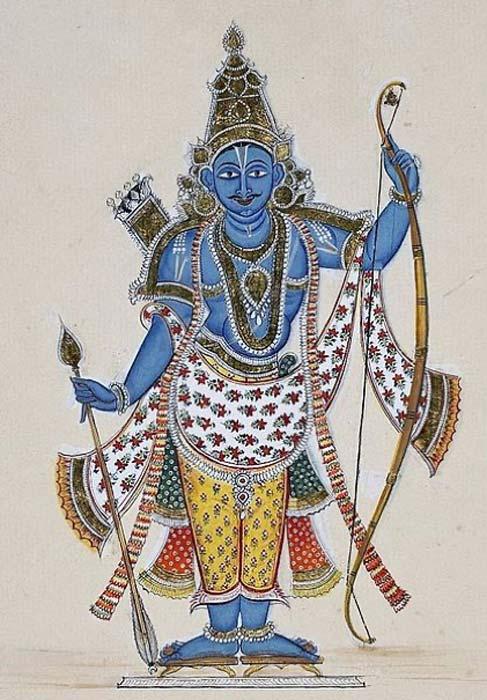 Pintura de Rama. Se lo representa de piel azul y con un arco ensartado con un carcaj lleno de flechas en la espalda y una sola flecha en la mano derecha. Sobre papel europeo marcado y con agua con una flor de lis. Esto está en otra parte de la serie fechada en 1816. (Dominio público)