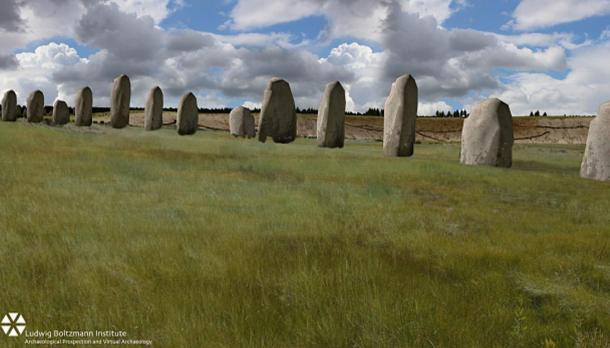 Reconstrucción digital del posible aspecto de la recién descubierta hilera de piedras megalíticas cuando estas aún estaban en pie. Imagen cedida por el Instituto Ludwing Boltzmann