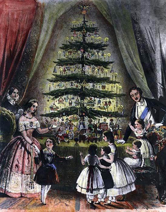 La reina Victoria, el príncipe Alberto y sus hijos admiran el árbol de Navidad real, diciembre de 1848. (Dominio público)