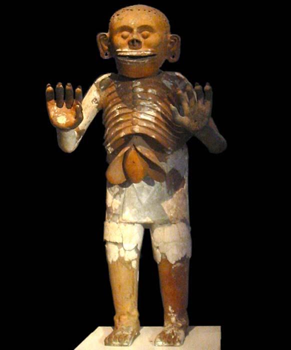 Representación de cerámica de Mictlantecuhtli recuperada durante las excavaciones de la Casa de las Águilas en el Templo Mayor, ahora en exhibición en el museo del Templo Mayor en la Ciudad de México. (NobbiP / Dominio Público)
