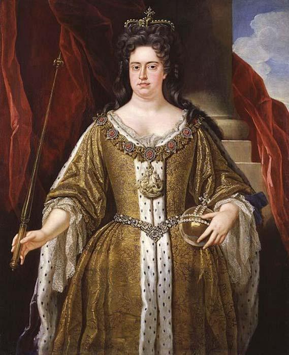 Retrato de la reina Ana (1665-1714) del taller de John Closterman. (Dominio público)