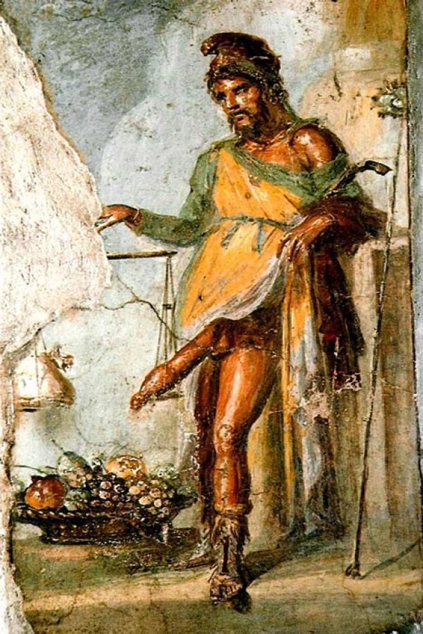 Si bien a los ojos contemporáneos esto podría parecer un antiguo porno romano, este fresco de Priapio de la Casa de Vetti en Pompeya en realidad simboliza la prosperidad. (Dominio público)