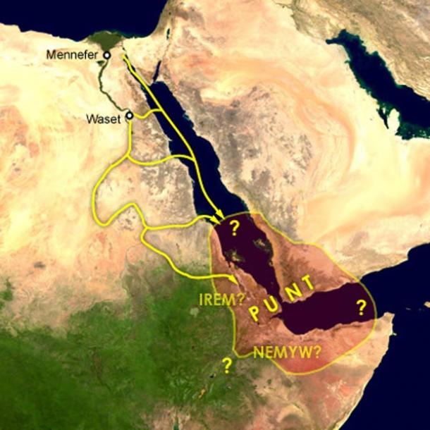 Mar Rojo y las principales rutas de viaje por tierra y mar. (Dominio público)