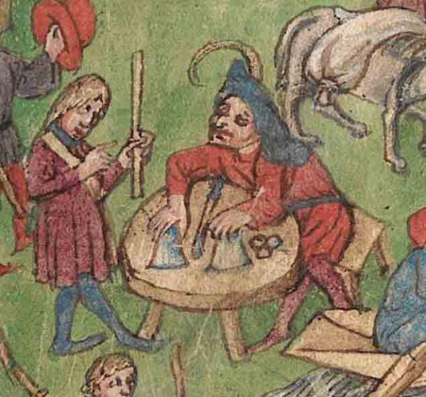 La rutina de tazas y bolas es reconocida como uno de los trucos de magia ilusoria más antiguos de la historia. Aquí se puede ver en uno de los dibujos en color del libro de la casa de Tübingen. (Universidad de Tubinga)
