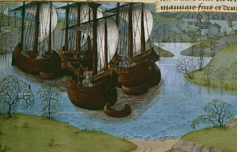 Ilustración de la flota real del rey Eduardo I de Inglaterra. De las 'Crónicas de Inglaterra' de Jean de Wavrin, c. 1470-80