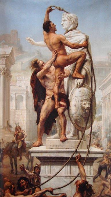 Bárbaros germanos capitaneados por Alarico saquean Roma en el año 410. Saqueo de Roma, obra de J. N. Sylvestre (1890) (Wikimedia Commons)