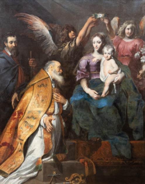 San Eloi (también Eligius Eloy, o Loye) a los pies de la Virgen María y el Niño Jesús por Gerard Seghers (1591-1651). (Imagen: Adam Ján Figeľ / Adobe Stock)