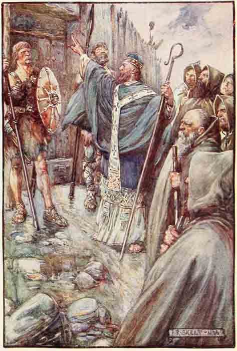 Santa Columba haciendo la señal de la cruz en la puerta de Bridei, hijo de Maelchon, rey de Fortriu. (Dominio público)