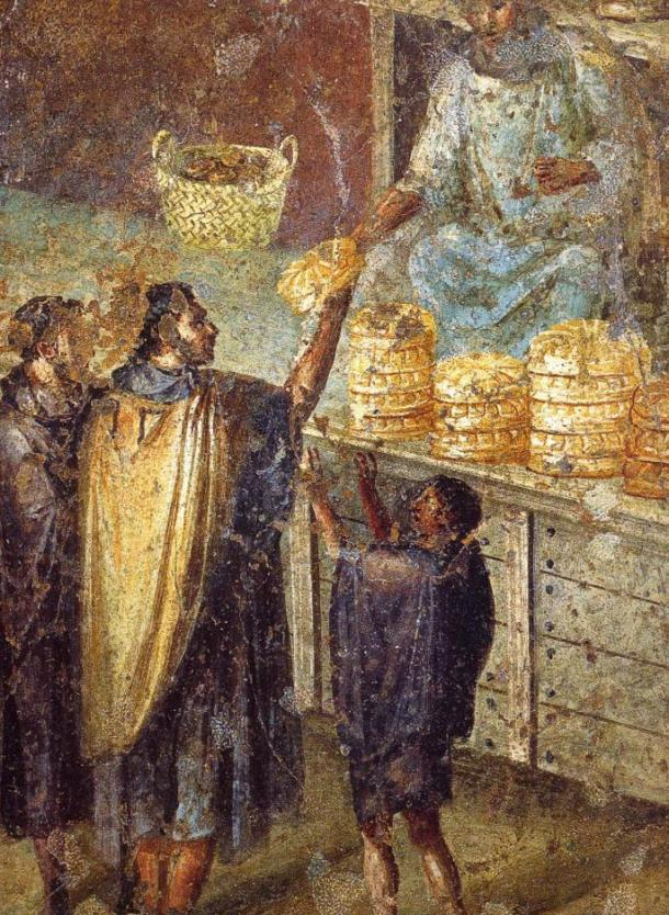 Venta de pan en un puesto del mercado. Fresco romano de la Praedia de Julia Félix en Pompeya. (Dominio público)