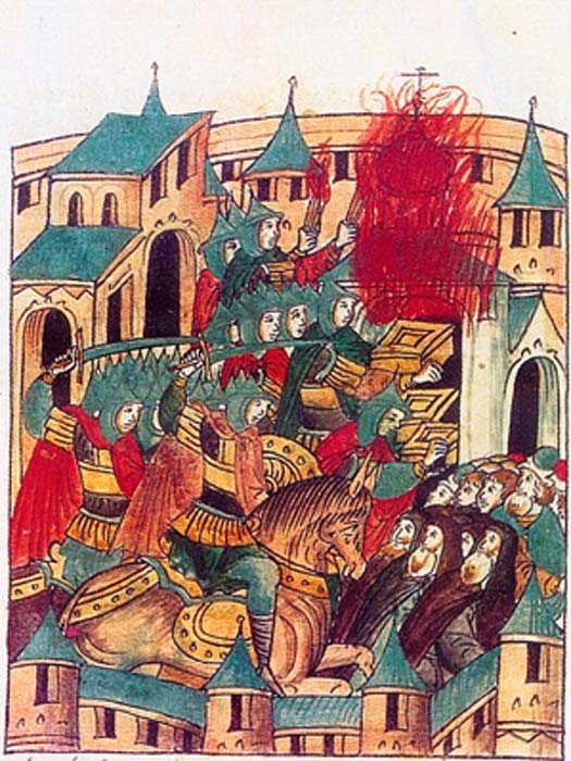 Saqueo de Suzdal por Batu Khan en febrero de 1238. Invasión mongola de Rusia. Una miniatura de la crónica del siglo XVI. (Dominio publico)