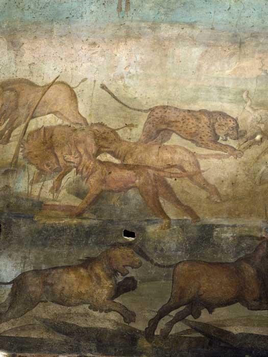 En la escena salvaje, aquí un leopardo se abalanza sobre las ovejas, los perros persiguen a los jabalíes y un león persigue a un toro. (Sitios de Pompeya)