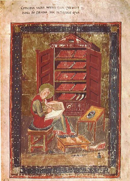 Esdras el Escriba, del Códice Amiatinus, fue acreditado como la primera persona en leer la Torá públicamente en el siglo VI a.C., luego del cautiverio babilónico. (Dominio público)