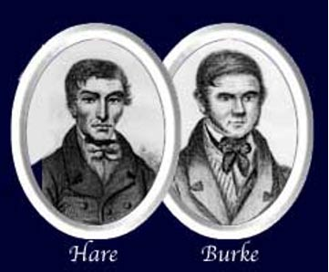 Retratos de los asesinos en serie William Hare y William Burke en torno a 1850. (Public Domain)