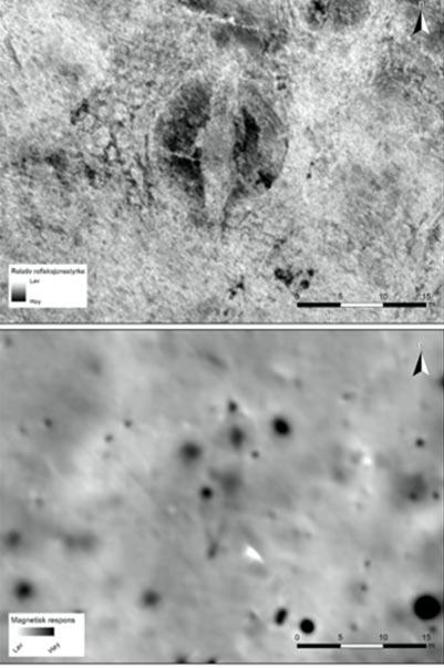 La tumba del barco es claramente visible en la ilustración georadar (arriba) y en los datos del magnetómetro (abajo). (NIKU)