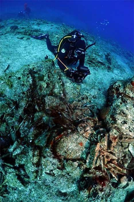 El naufragio romano con una carga de ánforas se construyó en España entre el 1er y 3er siglo después de Cristo. (ΥΠΠΟΑ / Ministerio de Cultura griego)