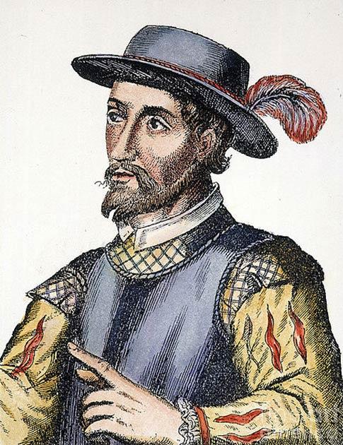 Grabado español del siglo XVII (en color) de Juan Ponce de León (dominio público)
