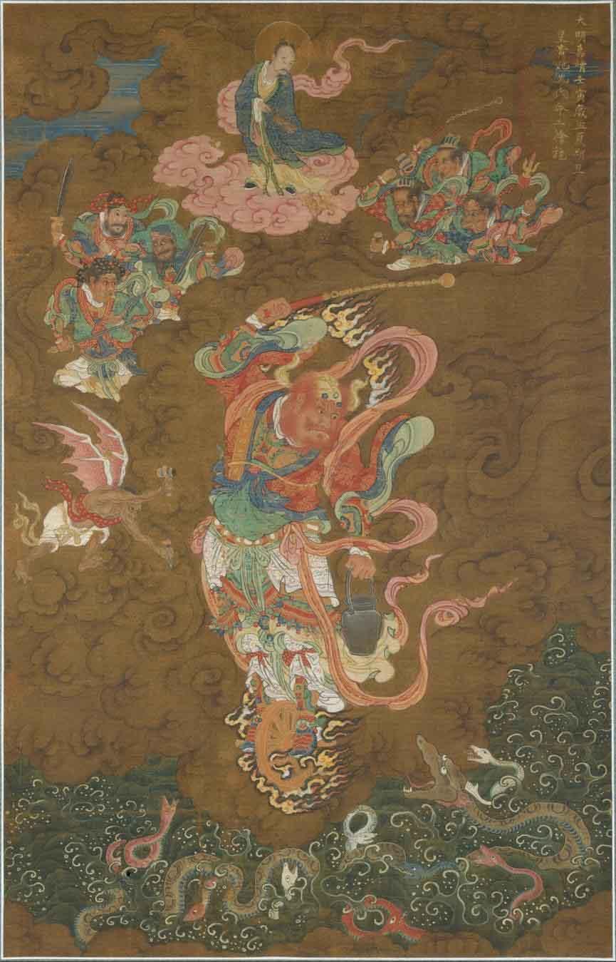 El dios del trueno Leigong representado en una pintura de 1542 de la dinastía Ming. (Dominio público)