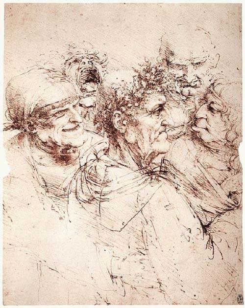 'Estudio de cinco cabezas grotescas' de Leonardo Da Vinci. (Dominio público)