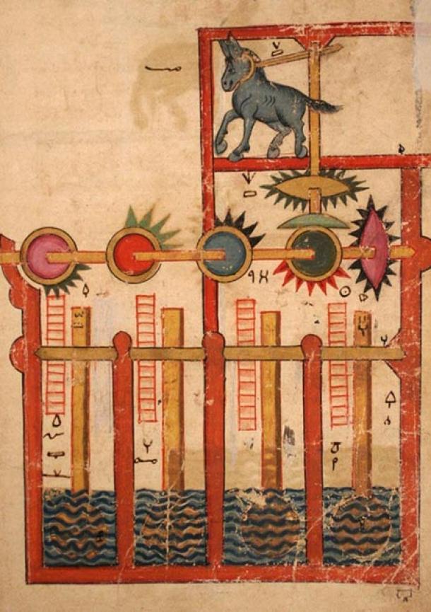 Los asombrosos inventos incluidos en el Libro del conocimiento de los ingeniosos dispositivos mecánicos son testimonio de la brillante mente de Ismail al-Jazari. Esta es una rueda hidráulica impulsada por un burro. (Museo Metropolitano de Arte / CC0)