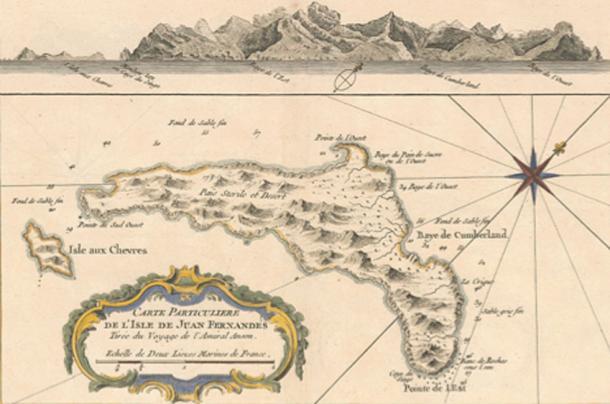 Mapa de 1753 de la Isla Más a Tierra (conocida hoy como Robinson Crusoe), la más grande de las tres islas que constituyen el grupo Juan Fernández. Cuando las narraciones de los exploradores mencionan paradas en Juan Fernández, generalmente se refieren a esta isla. (Dominio publico)
