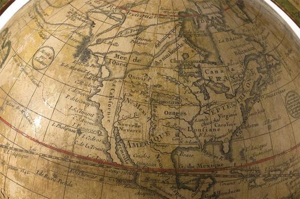 Globo de 1765 por Guillaume Delisle, que muestra un pasaje ficticio del noroeste. (Sociedad Histórica de Minnesota / CC BY SA 3.0)