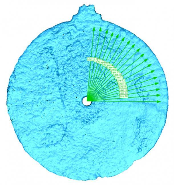 18 grados de medición están en el astrolabio. (Imagen: Universidad de Warwick)