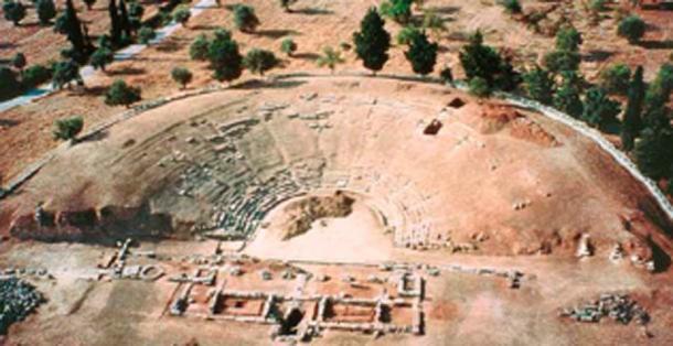 Vista aérea del templo Apollo Daphnephoros en Eretria. (Tomisti / CC BY-SA 3.0)
