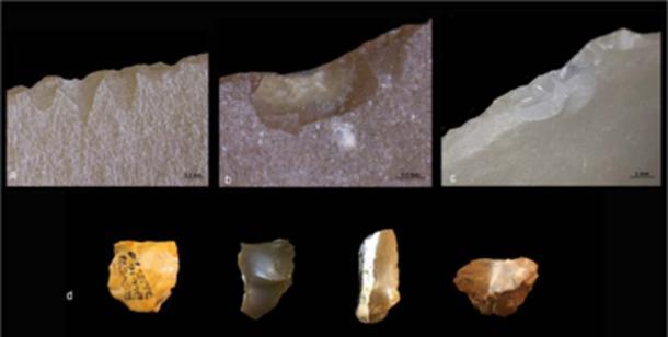 Diferentes tipos de alteraciones observadas en las herramientas de escamas recicladas. (Informes científicos)