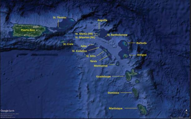 La isla caribeña de Saba, donde se descubrieron las tumbas cist. (© Google Earth / / Antiquity Publications Ltd)
