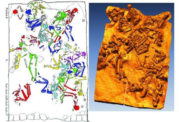 Un plano y un mapa en 3D de la ubicación de los cuerpos en uno de los fornici. (Rachelle Martyn et al, Antigüedad)