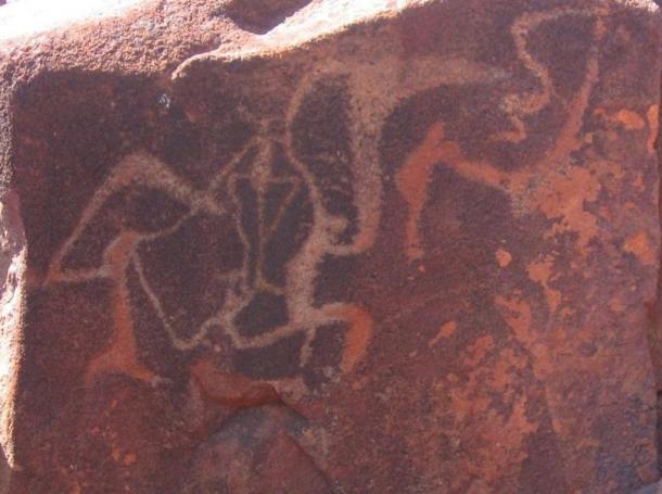 Arte rupestre tallado en la Península de Burrup en la región de Pilbara, Australia Oeste