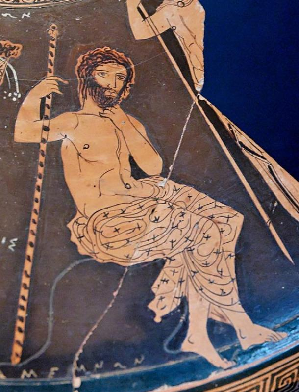 Agamenón sentado en una roca sosteniendo su cetro, fragmento de la cubierta de una figura lekanis ática roja, por el círculo del Pintor de Midias (410-400 a.C.)