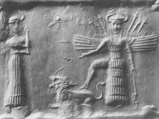 Antiguo sello cilíndrico acadio que representa a la diosa del amor mesopotámica Inanna. (Dominio publico)