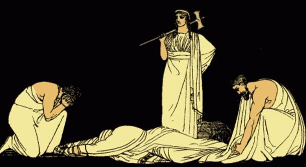 El asesinato de Agamenón, ilustración en Argumentos de las Tragedias Griegas (1897), Alfred Church