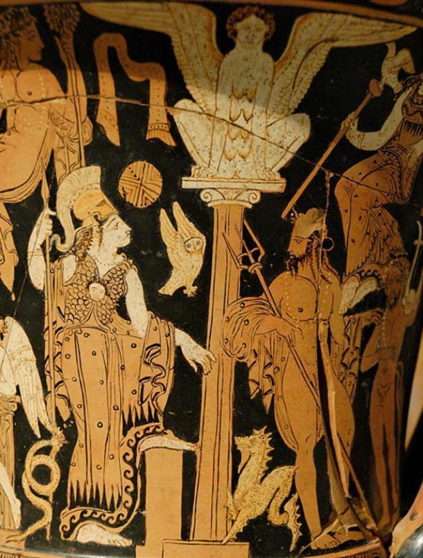 Atenea y Poseidón en una crátera (vasija) antigua.