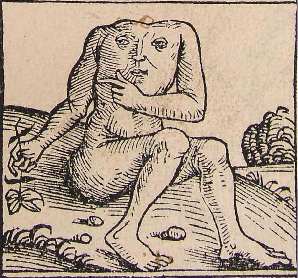 Un Blemmyae de la Crónica de Núremberg, 1493.