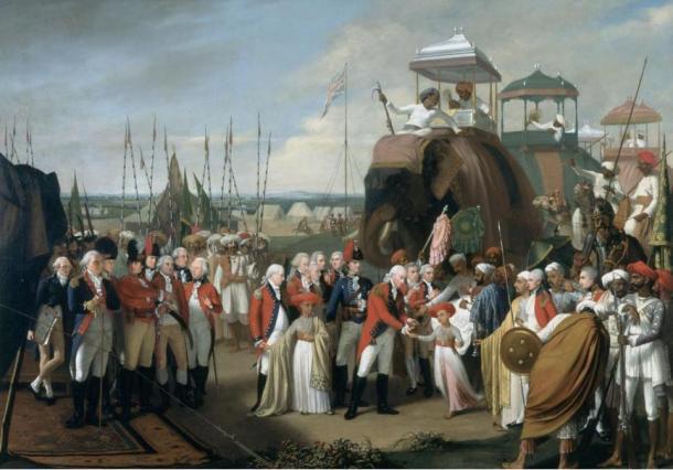 Lord Cornwallis, General Británico, recibe como rehenes a dos hijos del Sultán Tipu en la India, año 1793