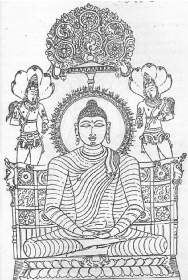 Es posible que la modificación de su sello familiar está diseñado a reflejar sus nuevas enseñanzas, una vez que Siddhartha Gautama logra la iluminación este emblema de Buda llega a representarlo sentado en el Trono-León bajo el árbol cósmico flanqueado por dos Bodhisattvas celestiales.