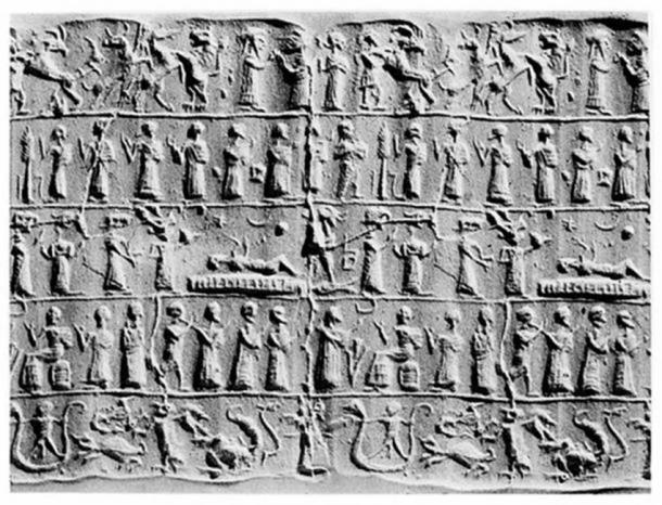 Cilindro asirio que representa un exorcismo. (Wellcome Images / CC BY 4.0)