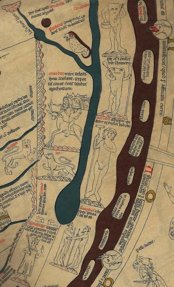 Detalle mostrando África al sur del Rio Nilo. Troglodita montado sobre una bestia-cabra, y Blemmyes sin cabeza.