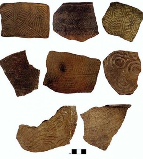 Ejemplos de los tipos de cerámica de la antigua Appalachia del sur. (Jacob Lulewicz / Washington University en St. Louis)