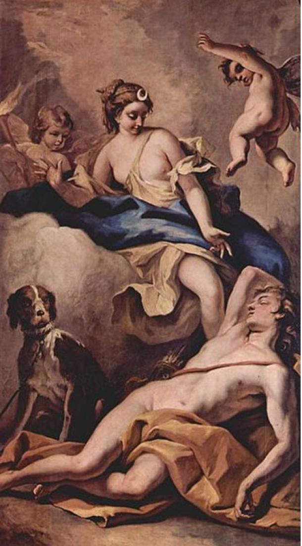 Endimión y Selene, por Sebastiano Ricci (1713).